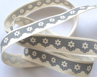 "decorative Ribbon: ""gray lace"" on an ecru background"