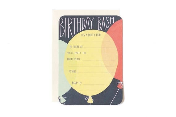 Birthday Party Invitations - Fill in the Blank Invitations - Set of 10 Party Invitations