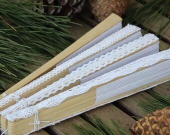 WEDDING Hand Fan | Birch |  Lace Trim  Hemp Tie | Oriental Style Bridal Accessory | diy