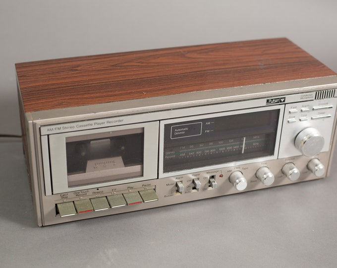 Vintage Clock Radio - AM/FM Stereo from Canadian Tire - Retro Faux Wood Rectangle Bedside Digital Clock with Cassette Recorder