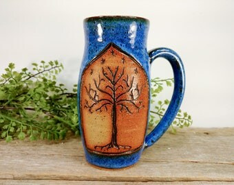 Tree of Gondor 16 oz - Bright Blue - Wheel Thrown and Hand Carved Coffee Cup