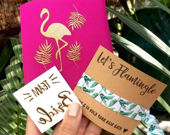 Bachelorette Party Favors | Flamingo + Palm Trees | Bachelorette Gift Set | Temporary Tattoo | Can Coolers | Bachelorette Party | Team bride