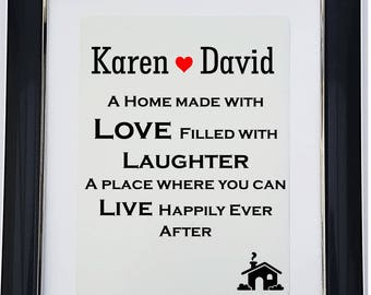 Personalised Home Message Framed Print