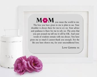 Framed Mother Personalised Poem - Unconditional Love