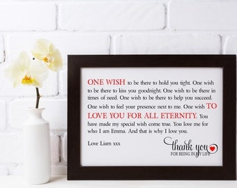Personalised Heart Framed Love Poem - One Wish