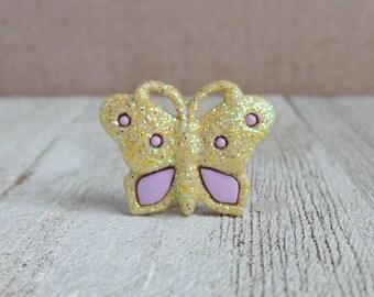 Butterfly - Glitter - Yellow - Fly - Freedom - Beautiful - Renew - Lapel Pin
