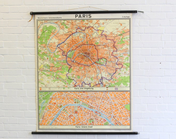 Large Mid Century Canvas City Map Of Paris Circa 1960s