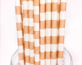 25 Peach Stripes paper straws // baby bridal shower decorations // candy dessert buffet table // wedding // First birthday/new year party