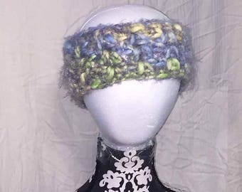Crochet Blue Green and Yellow Fuzzy Headband and Ear Warmer