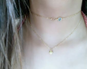 Layered Heart Necklace Heart Necklace Layered Heart Necklace Heart Jewelry Aquamarine Birthstone Choker with Eternity Circle Choker Modern