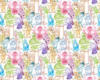 Muppets Fabric Rainbow Sketch Fabric Kermit the Frog Miss Piggy Animal Fozzie Bear Gonzo Scooter From Springs Creative 100% Cotton
