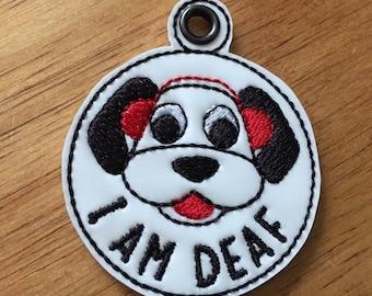 I Am Deaf Dog Tag - In The Hoop - Snap/Rivet Key Fob - DIGITAL Embroidery Design