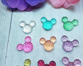 X 6 head Mickey mix color 12mm Cabochons