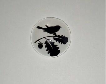 X 1 black Bird on a branch 20mm glass Cabochon