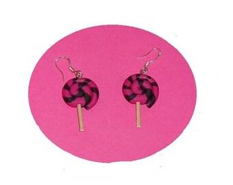 Fuchsia/black polymer clay lollipop earrings