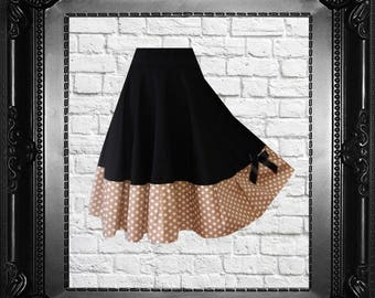 Rockabilly Dotted Skirt Black Beige Wedding Party Pinup Polka Dots Black Cherrys Store Fashion as in fairy tale Eco Friendly