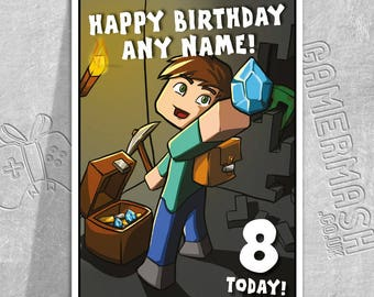 PERSONALISED BIRTHDAY CARD - Steve Dungeon - Minecraft Themed