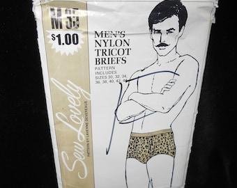 Mens Briefs Sew Lovely M 35 Mens Nylon Tricot Briefs Sizes 30-44 Vintage Laverne Devereaux