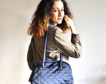 on sale Vintage quilted bag, navy