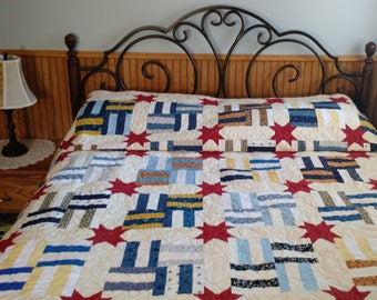Queen Size Quilt with Red Stars