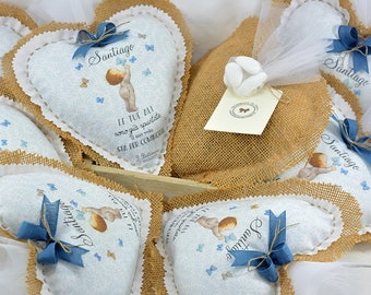 10 Personalized Favors-Heart 17 x 18 cm for birth and baptism
