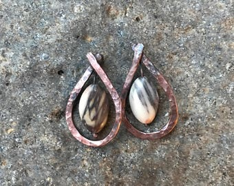 Hammered Copper and Stone Drop Earrings