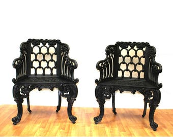 Colonial Vintage or Victorian Pair of Single Seats Garden Chairs Legs Non Rust