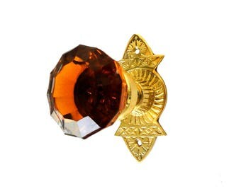Victorian Reproduction Door Hardware Passage Set Amber Glass knobs Frisco
