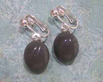 Gray Clip On Earrings, Dangle Clip On Earring, Clipons,Grey Fused Glass Jewelry, Clip on Jewelry - Rafaela -7