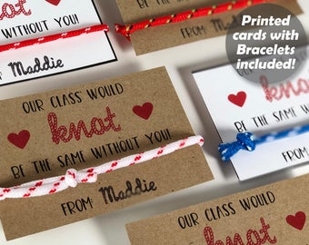 Knot Valentines, Friendship Bracelet Valentines for Kids, Valentines Day Cards for Girls, Teacher Non Candy Free Class Classroom Printed