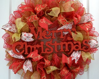 Merry Christmas Wreath - Red Gold Christmas Door Wreath - Christmas Front Door Wreath - Red Christmas Mesh Wreath - Gold Christmas Decor