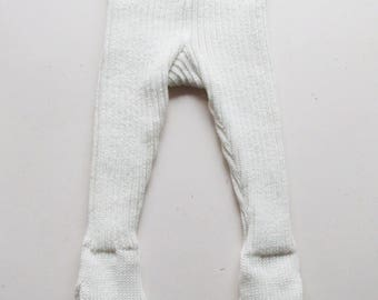 Baby merino wool pants with feet/footed leggings/trousers with feet/tights/rib knit