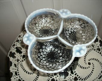 Moonstone Hobnail Candy or Relish Dish
