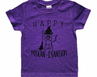 Happy Meow-loween Cat Halloween tee for infants, toddlers, and children / baby cat shirt / cat shirt