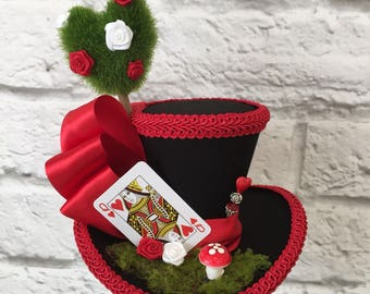 Queen of Hearts Mini Top Hat, Mad Hatter Top Hat, Red & White fascinator, Tea Party Mini Top Hat.