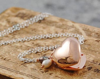 ON SALE NOW Rose Gold Locket, Heart Locket, Rose Gold Heart, Sterling Silver, Photo Locket, Delicate Locket, Locket With Pearls, Locket Pend