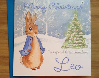 Handmade Personalised Blue Peter Rabbit Christmas Card Son ,Nephew Brother ,Grandson ,Daughter ,Niece ,Sister 1st 2nd