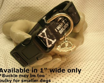 """X Files X-Files Inspired 1"""" adjustable dog collar I want to Believe Alien Spaceship charm LEASH and key fobs AVAILABLE Mulder & Scully"""