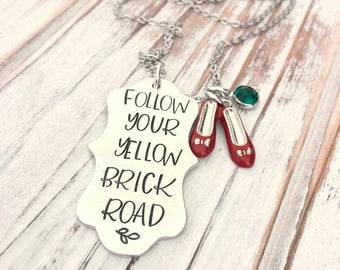 Follow Your Yellow Brick Road - Scallop Hand Stamped Pendant - Red Ruby Slippers - Emerald - Topaz Crystal - Pendant Necklace