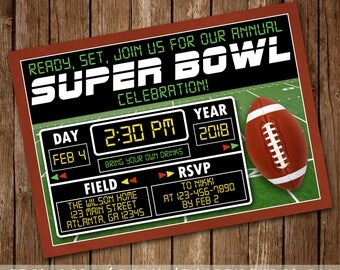 Super Bowl Party Invitation - Football Birthday Party Invite - Ready Set Touchdown - Game Time - Are You Ready For Some Football - Printable