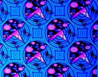 Vintage Psychedelic UV Blacklight Flock Velvet Felt Poster Mushrooms Pixie