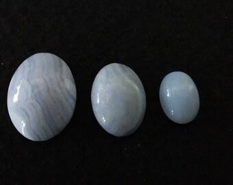 Vintage Blue Lace Agate Oval Cabochons