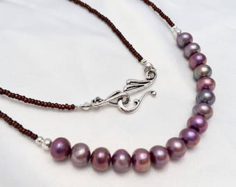Rich, marsala berry colored freshwater pearl necklace. Simple & dainty jewelry. Hues of lavender, purple and rose pink. June Birthstone