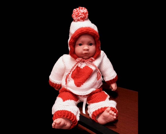 Crochet Valentines Baby Dress, Baby Valentine Set, Baby Sweater and Pants, Red and White, Baby Clothing, Newborn to 3 Months, Baby Gift Set