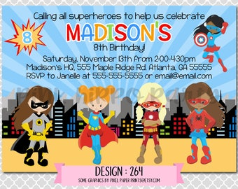 Superhero Girls Super, Bat, Spider, Flash Girl:Design #264-Children's Birthday Invitation, Personalized, Digital, Printable, 4x6 or 5x7 JPG