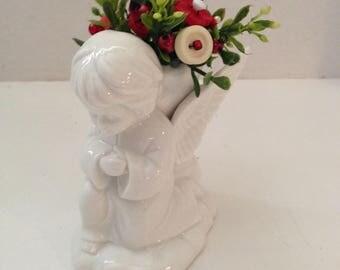 Valentine Vintage Button Bouquet/CupidAngel-Country Home Decor-Shabby Cottage Chic