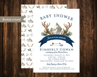 Antlers & Arrows Navy Baby Shower Invitation; Mountains; Double-Sided; Baby Boy; Printable or set of 10