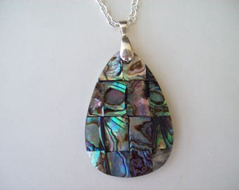 Abalone Pear Teardrop Pendant with chain