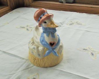 Duck Potpourri Holder, Girly Duck Ceramic Covered Dish, Potpourri Holder, Duck Dish, Goose Potpourri Holder,