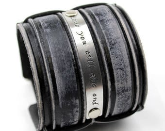 Custom leather Cuff, Stamped leather cuff, Distressed black Bracelet for men's, Leather bracelet with brass or silver plate.